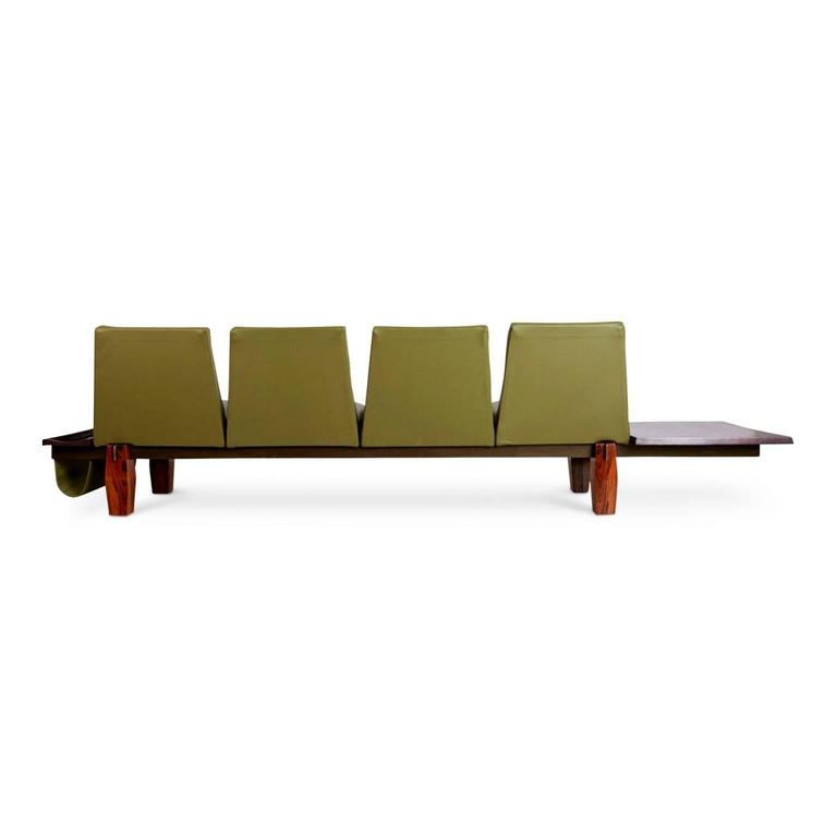 Mid-Century Modern Jorge Zalszupin for L'atelier Brazilian Rosewood and Leather Sofa w Side Table For Sale