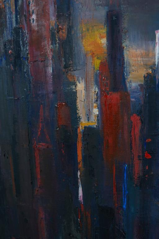 Mid-20th Century Large Cityscape Skyline Oil Painting, by Dietrich Grunewald for Van Amstel For Sale