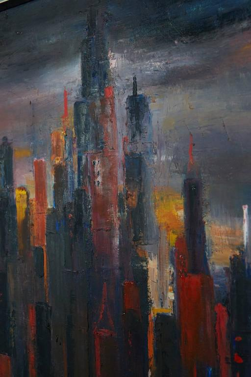 Dramatic interpretation of an urban city skyline against an ominous looking upper atmosphere by Dietrich Grunewald for Van Amstel of California, circa 1960s. 