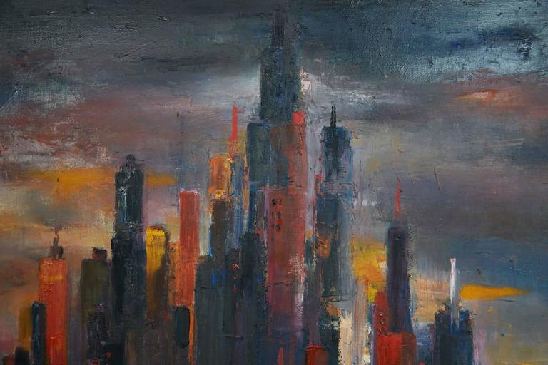 Mid-Century Modern Large Cityscape Skyline Oil Painting, by Dietrich Grunewald for Van Amstel For Sale