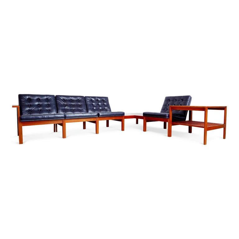 France & Son Moduline Living Room Set by Ole Gjerløv-Knudsen & Torben Lind In Excellent Condition For Sale In Los Angeles, CA
