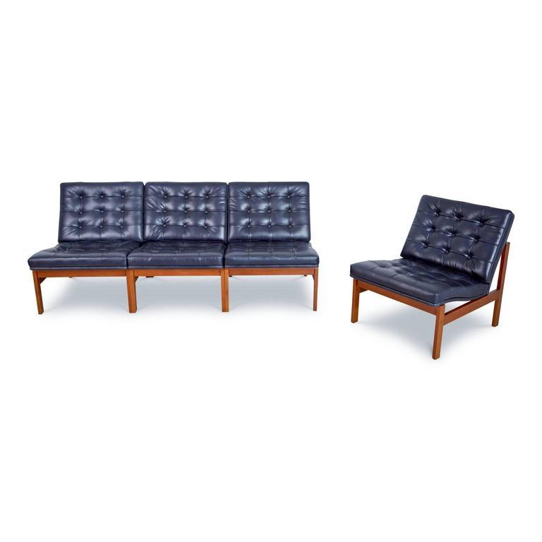 Leather France & Son Moduline Living Room Set by Ole Gjerløv-Knudsen & Torben Lind For Sale