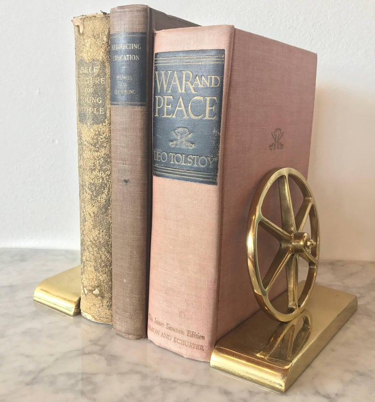 Mid-Century Modern Brass Wagon Wheel Bookends by Virginia Metalcrafters, Pair