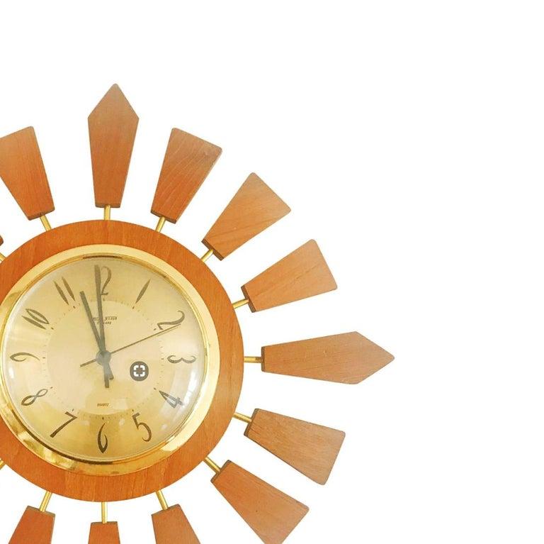 Mid-Century Modern Anstey Wilson England Brass and Teak Sunburst Clock, Circa 1950 England For Sale