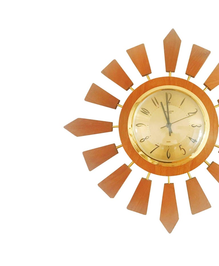 Great Britain (UK) Anstey Wilson England Brass and Teak Sunburst Clock, Circa 1950 England For Sale