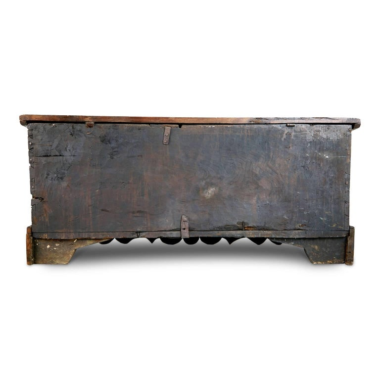 Add a real show stopper to your interior with this extremely large English Carolean chest or coffer, which can be used for blankets, bedding or other storage or display purposes. This striking piece is fabricated from hand-carved oak and elm and is