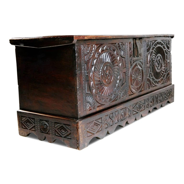 Renaissance 17th Century English Carved Oak and Elm Large Blanket Chest Coffer For Sale