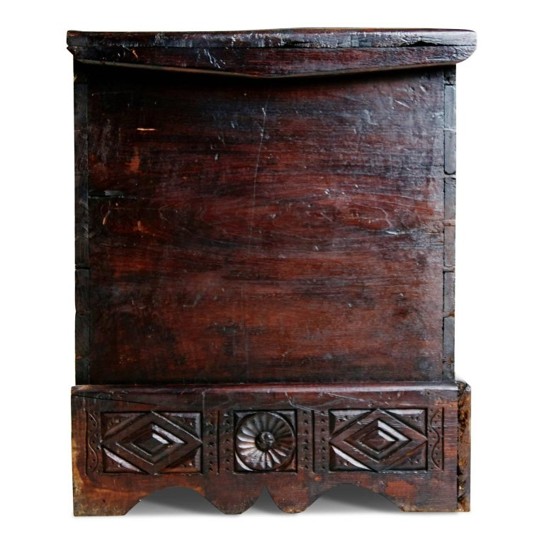 Welsh 17th Century English Carved Oak and Elm Large Blanket Chest Coffer For Sale