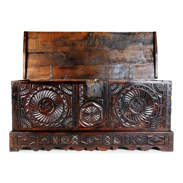 Hand-Carved 17th Century English Carved Oak and Elm Large Blanket Chest Coffer For Sale