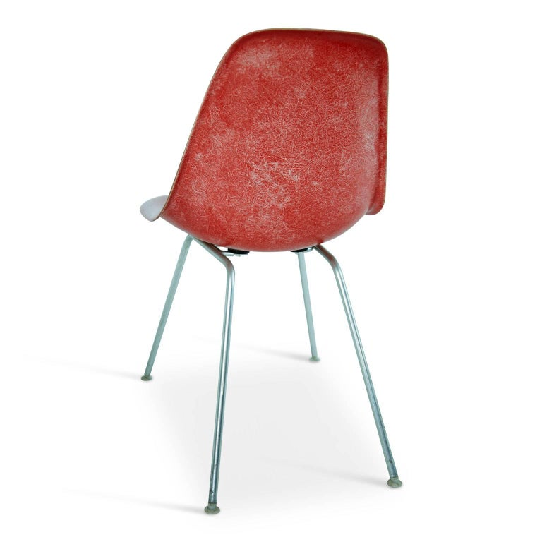 Steel Charles & Ray Eames for Herman Miller Fiberglass DSX Chairs, Early Production For Sale