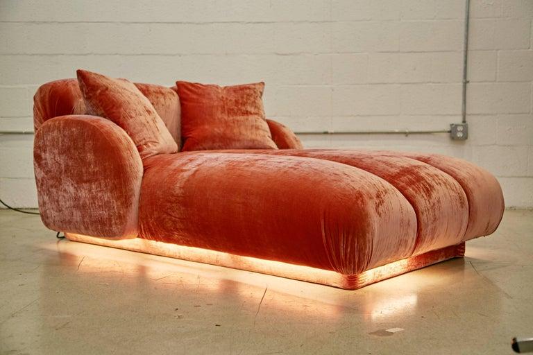 Modern Custom Illuminating Pink Velvet Chaise by Steve Chase from Chase Designed Home For Sale