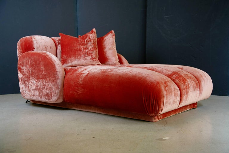 American Custom Illuminating Pink Velvet Chaise by Steve Chase from Chase Designed Home For Sale