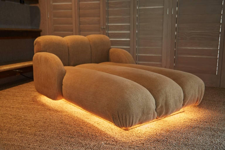 Custom Illuminating Pink Velvet Chaise by Steve Chase from Chase Designed Home For Sale 2