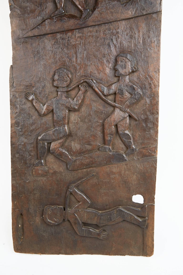 Primitive African Wooden Granary Door with Carved Motifs For Sale