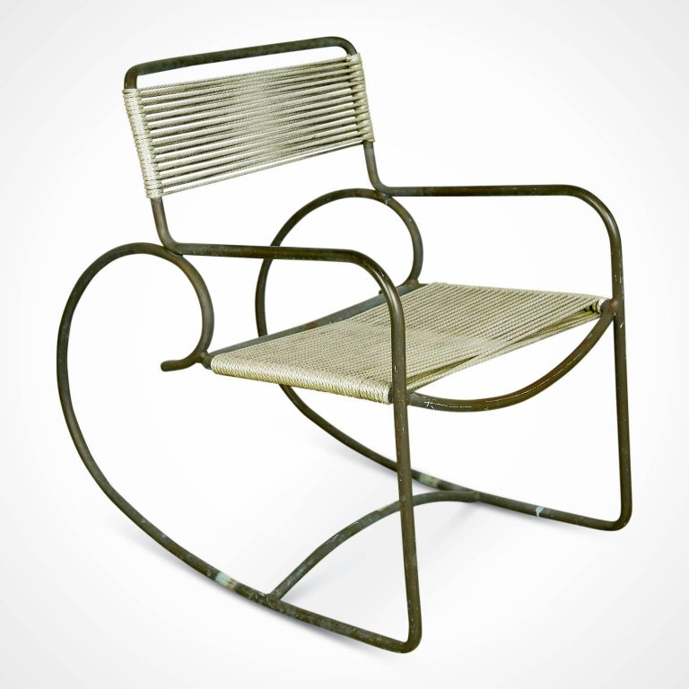Mid-Century Modern Signed Walter Lamb for Brown-Jordan Bronze Outdoor Rocking Chair, circa 1950 For Sale