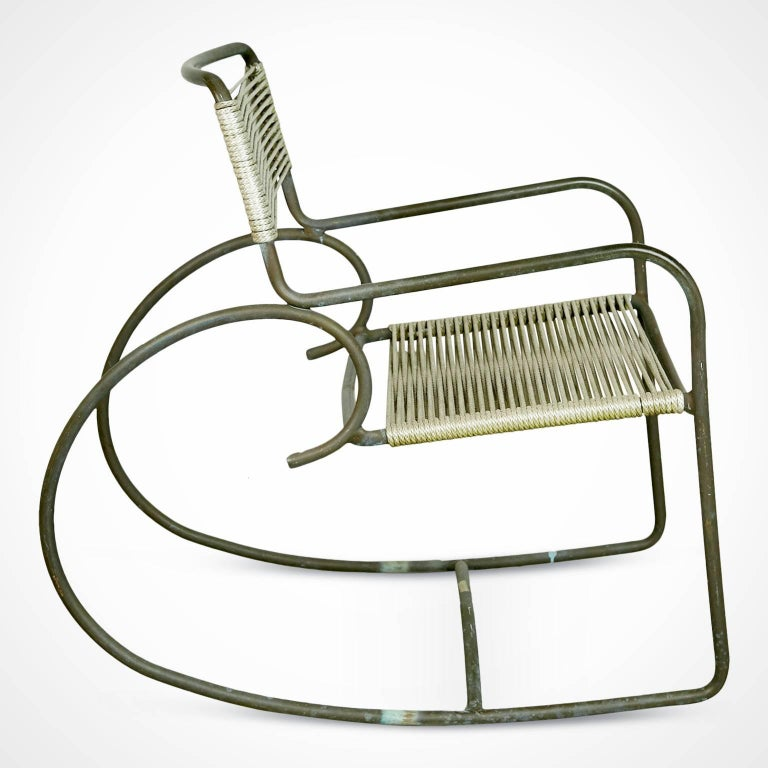 American Signed Walter Lamb for Brown-Jordan Bronze Outdoor Rocking Chair, circa 1950 For Sale