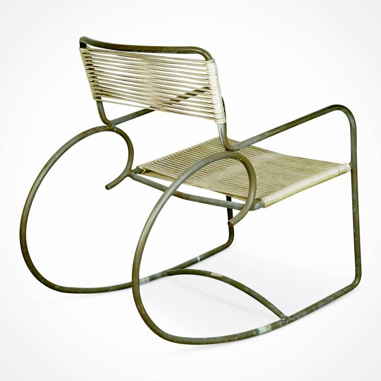 Mid-20th Century Signed Walter Lamb for Brown-Jordan Bronze Outdoor Rocking Chair, circa 1950 For Sale