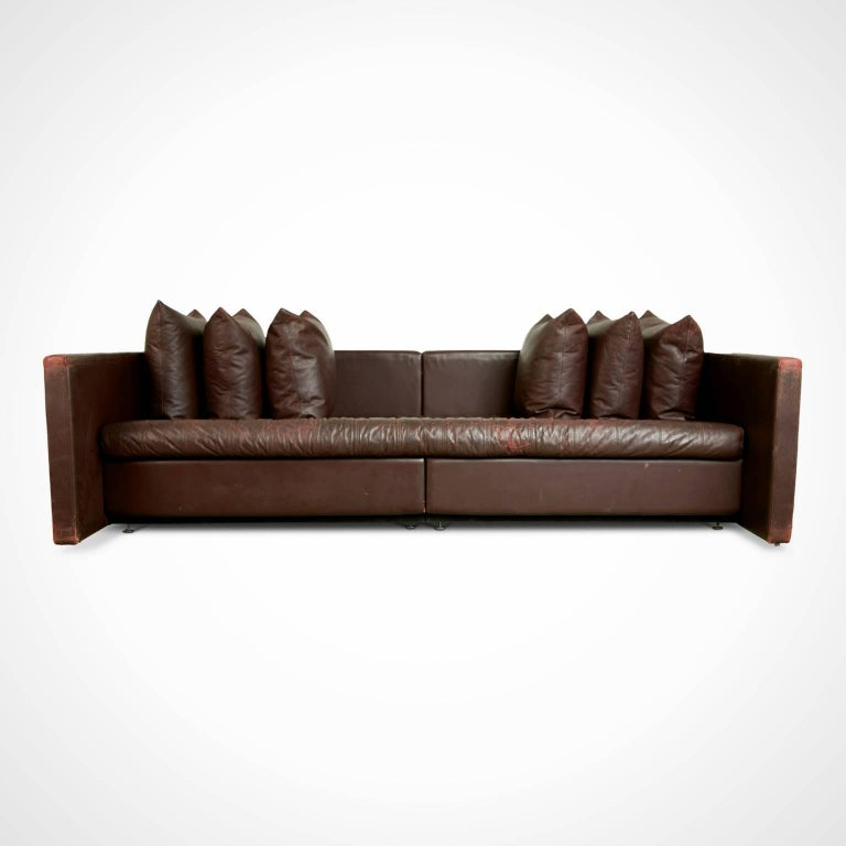 American Architectural Leather Sofa by Joseph D'Urso for Knoll International, circa 1980 For Sale