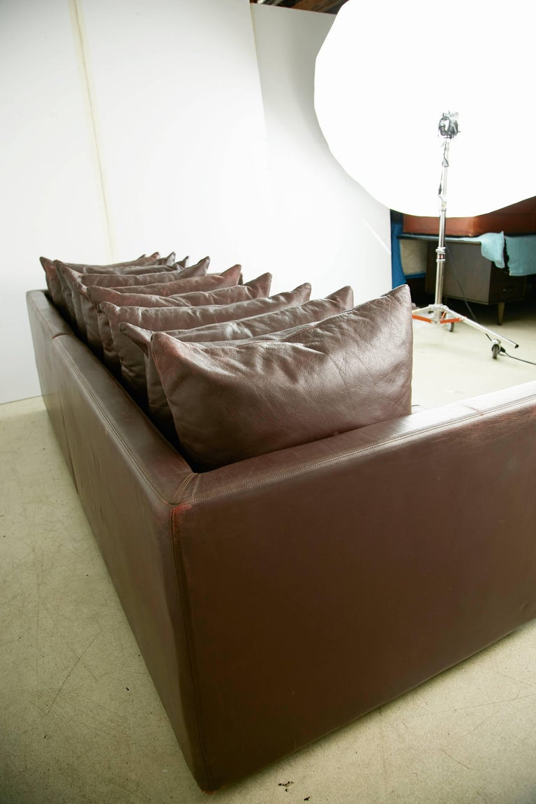 Architectural Leather Sofa by Joseph D'Urso for Knoll International, circa 1980 For Sale 1
