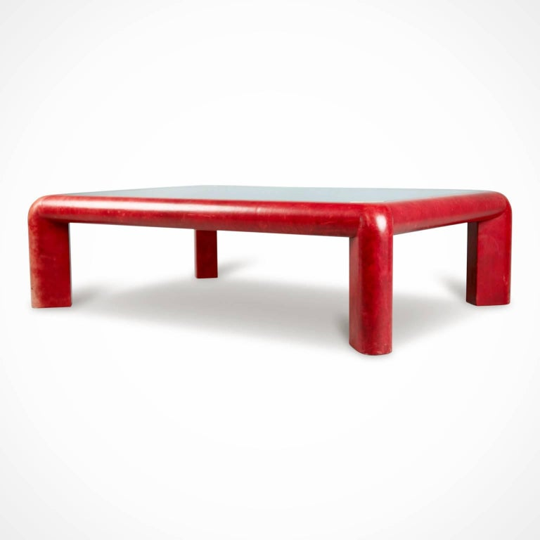 Buy this highly desirable, collectible, photographable, instagramable and incredibly sexy Karl Springer signed and dated (1984, the same year that brought us sixteen candles, Miami Vice and Footloose) cocktail table cladded in luxuriously supple