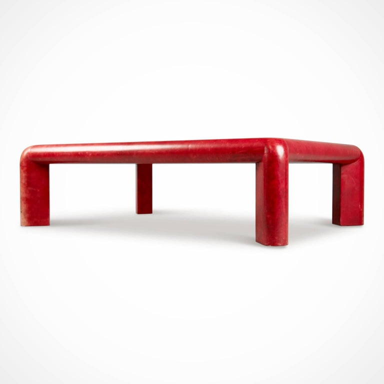 Modern Karl Springer Signed Lipstick Red Leather and Brass Cocktail Table, Dated 1984 For Sale