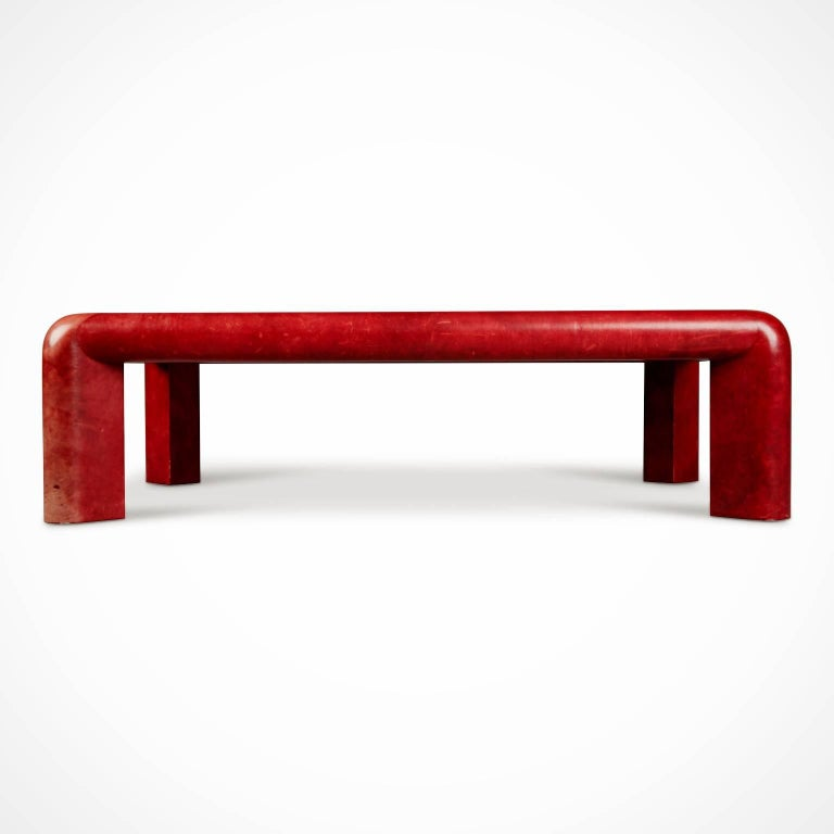 American Karl Springer Signed Lipstick Red Leather and Brass Cocktail Table, Dated 1984 For Sale