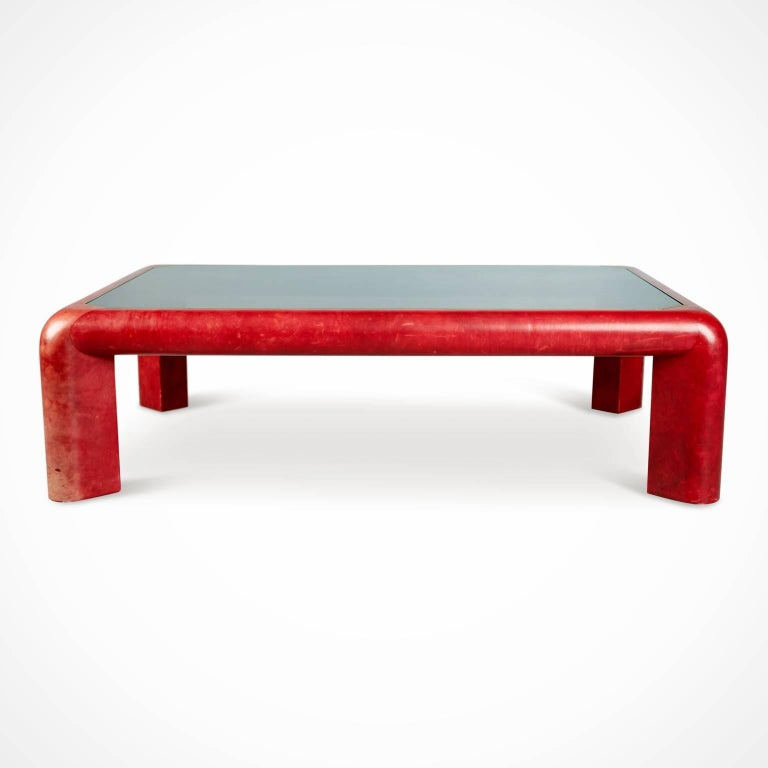 Karl Springer Signed Lipstick Red Leather and Brass Cocktail Table, Dated 1984 In Good Condition For Sale In Los Angeles, CA