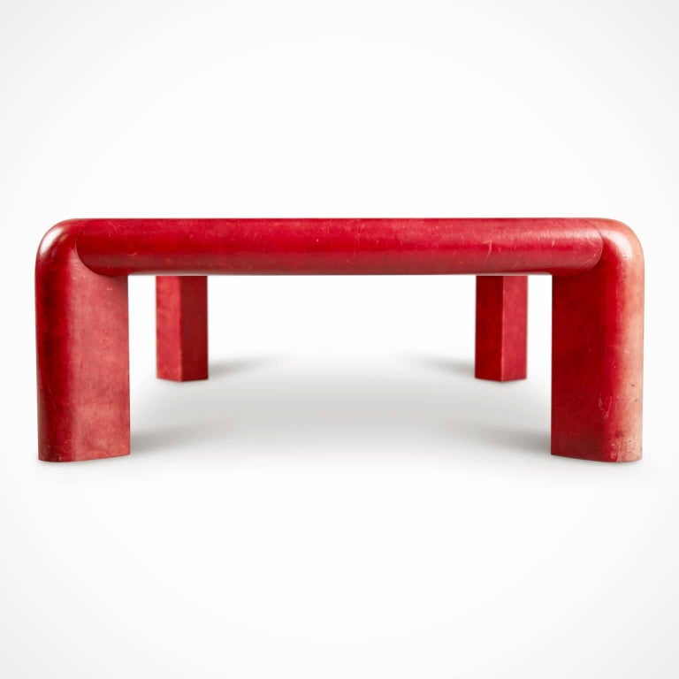 Smoked Glass Karl Springer Signed Lipstick Red Leather and Brass Cocktail Table, Dated 1984 For Sale