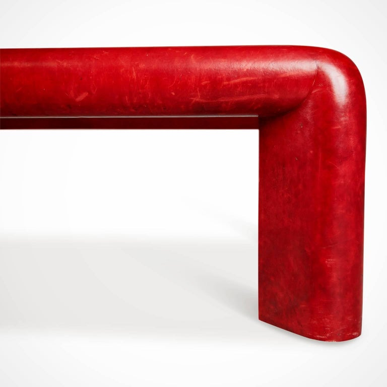 Karl Springer Signed Lipstick Red Leather and Brass Cocktail Table, Dated 1984 For Sale 1