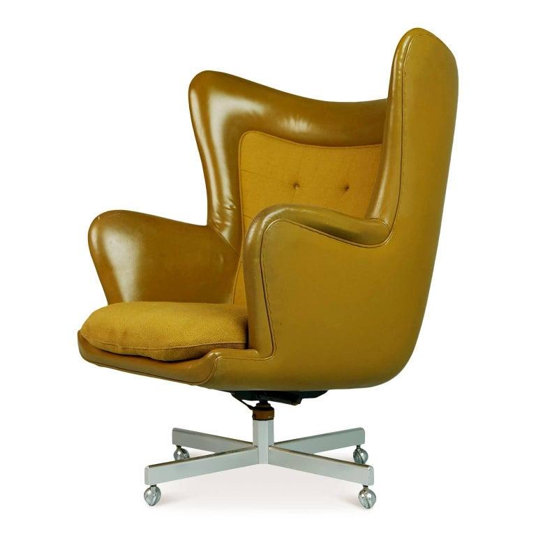 Mid-Century Modern George Kasparian Leather Wingback Executive Chair, circa 1960 For Sale