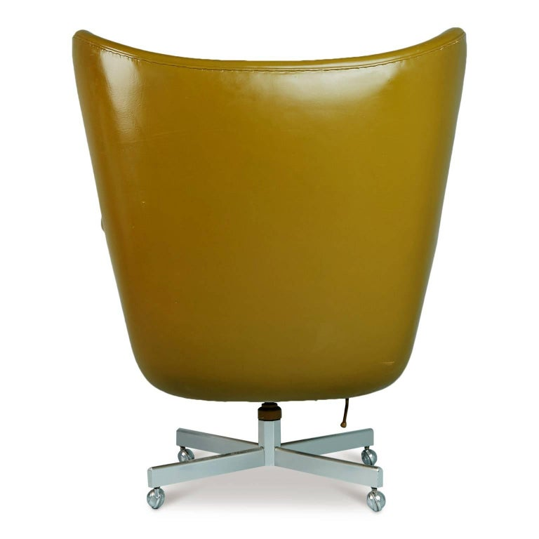 Mid-20th Century George Kasparian Leather Wingback Executive Chair, circa 1960 For Sale