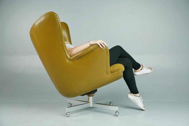 Aluminum George Kasparian Leather Wingback Executive Chair, circa 1960 For Sale