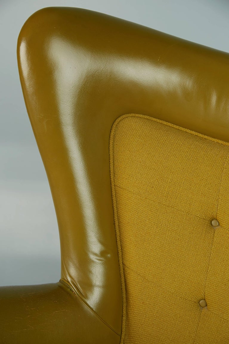 George Kasparian Leather Wingback Executive Chair, circa 1960 For Sale 3
