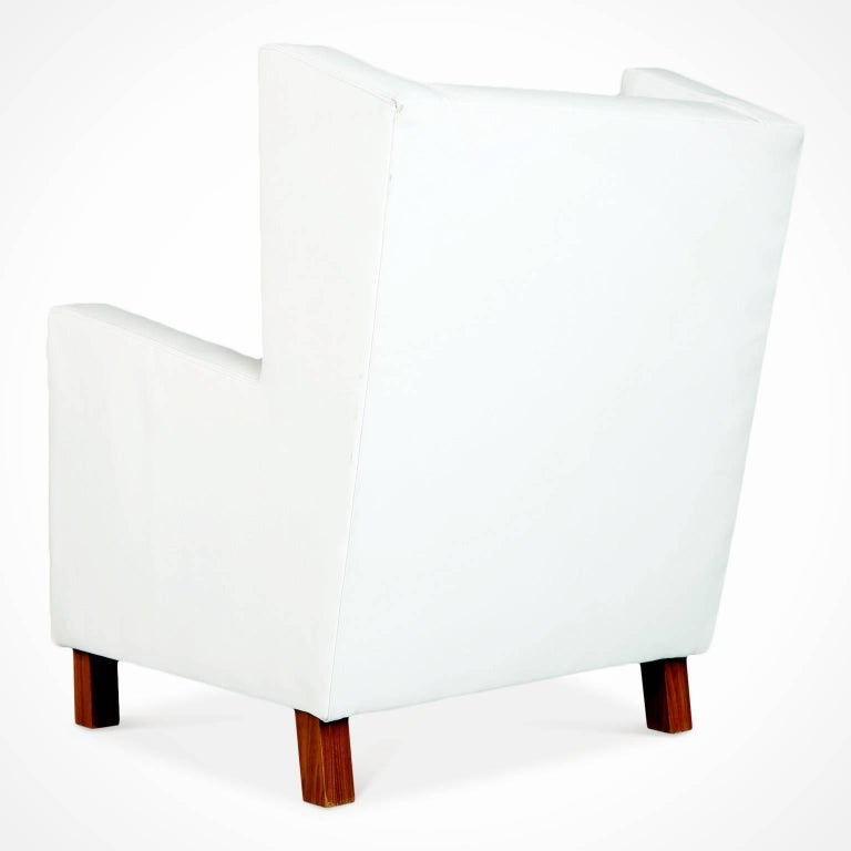 Jacaranda and White Leather Wingback Armchairs, Brazil, circa 1960 In Good Condition In Los Angeles, CA
