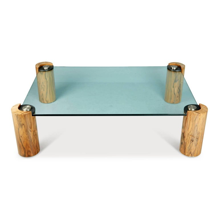 American Karl Springer Macassar Wood, Bronze, Chrome and Glass Coffee Table For Sale