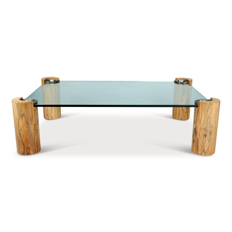 Modern Karl Springer Macassar Wood, Bronze, Chrome and Glass Coffee Table For Sale