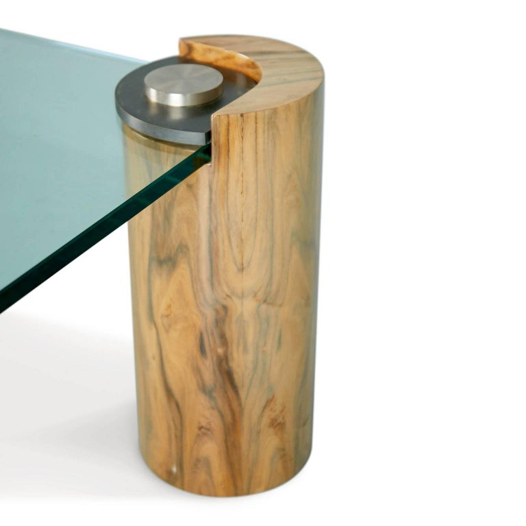 Karl Springer Macassar Wood, Bronze, Chrome and Glass Coffee Table For Sale 1