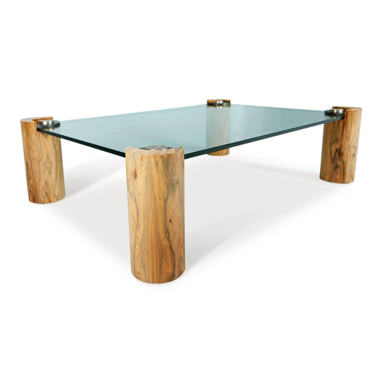 Karl Springer Macassar Wood, Bronze, Chrome and Glass Coffee Table In Excellent Condition For Sale In Los Angeles, CA