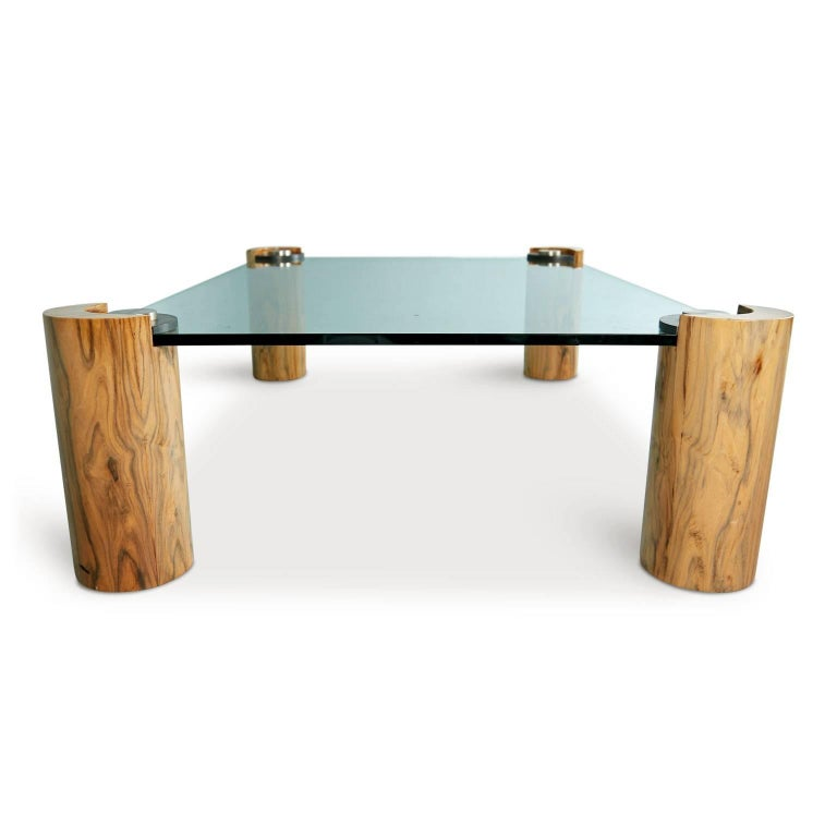 Late 20th Century Karl Springer Macassar Wood, Bronze, Chrome and Glass Coffee Table For Sale