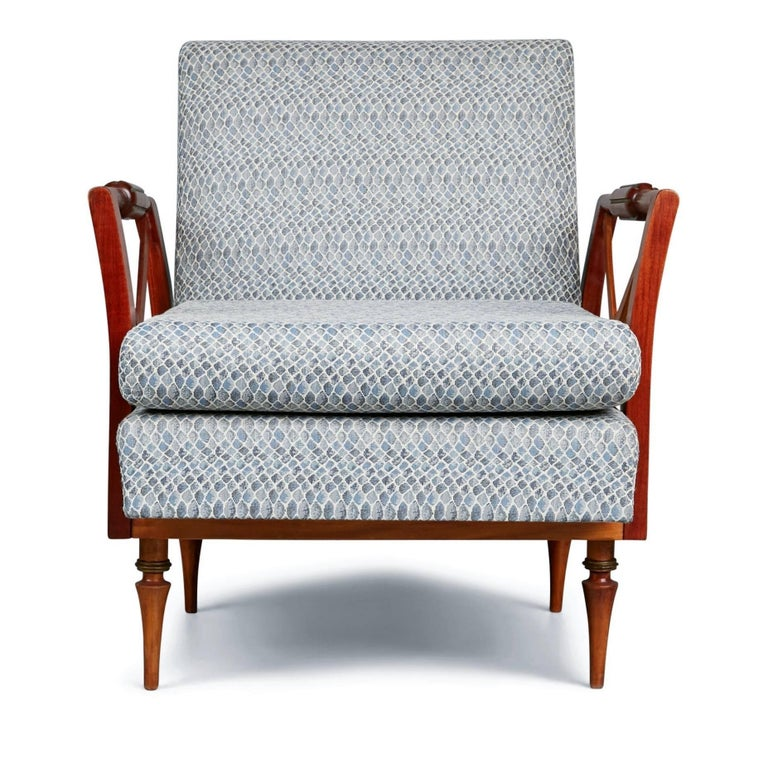 Newly imported and restored from a private collector in Brazil, these uniquely crafted armchairs were created by the Liceu de Artes e Oficios de São Paulo and encapsulate the quality and innovation of the school's designs.   Founded in 1873, the