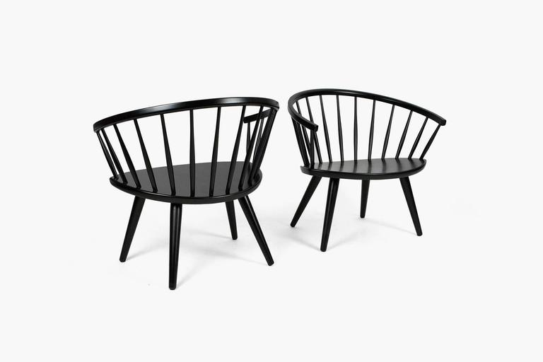 Produced by Stolfabriks AB Sweden, circa 1955. Beechwood finished in black lacquered paint.