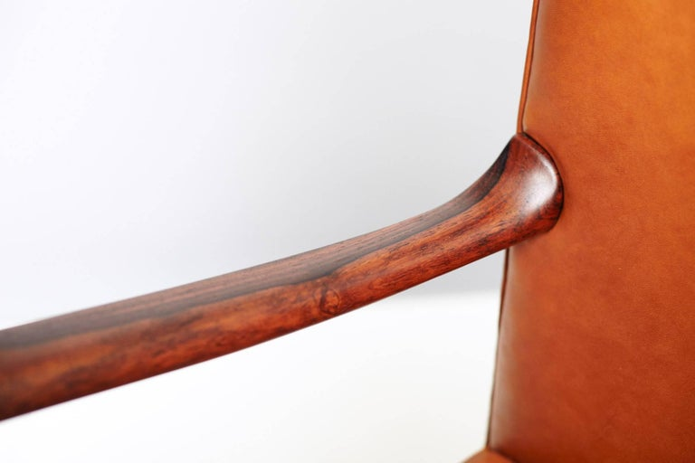 Leather Ole Wanscher Brazilian Rosewood Armchair, circa 1950s For Sale