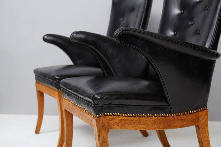Brass Frits Henningsen Armchairs, Oak and Leather For Sale