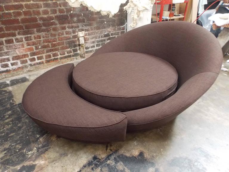 American Milo Baughman Round Loveseat or Lounge Chair with Ottoman