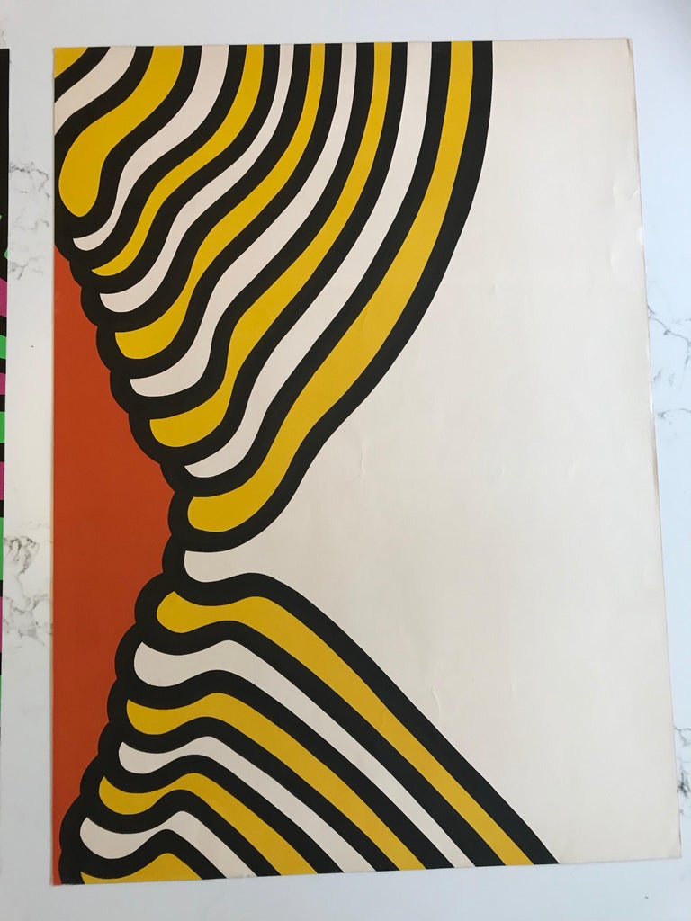 American Pair of Nicholas Krushenick Pop Art, Lithographs in Colors, 1965 For Sale