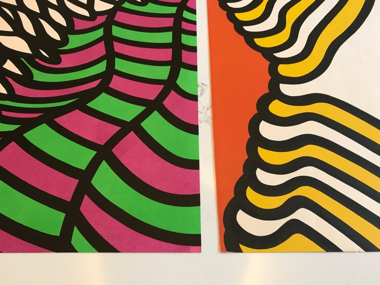 Pair of Nicholas Krushenick Pop Art, Lithographs in Colors, 1965 In Good Condition For Sale In Los Angeles, CA