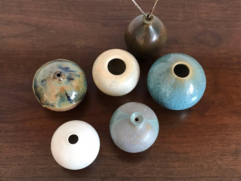 Six Studio Pottery Weed Vases by Some Listed Ceramicist For Sale 2