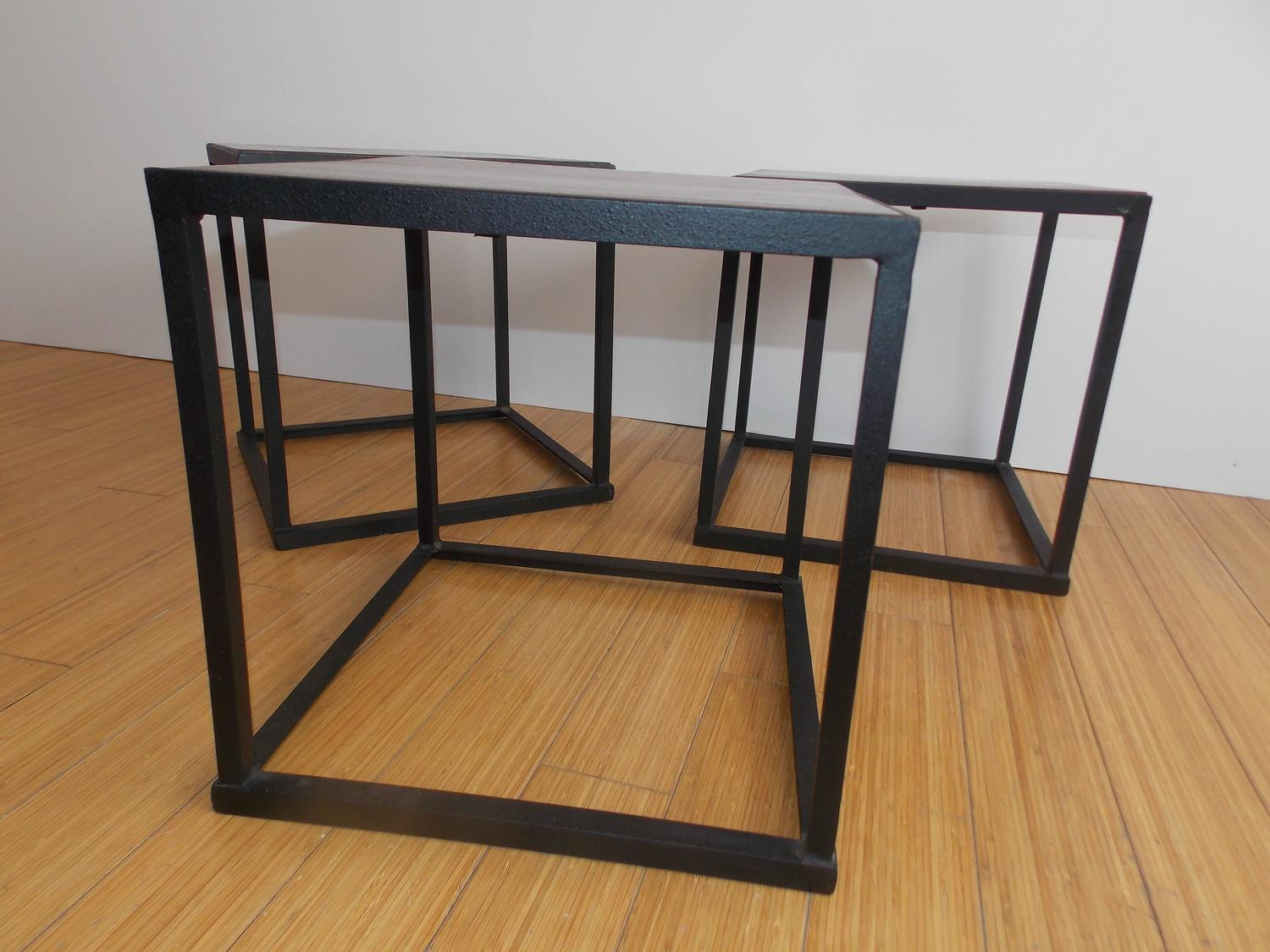 Mexican Modern Rosewood And Iron Occasional Tables At 1stdibs