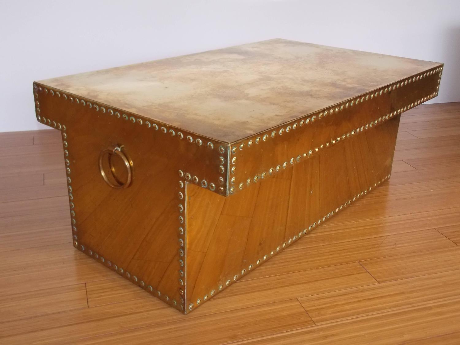 Sarreid ltd brass studded t shape coffee table at 1stdibs for Coffee table with studs