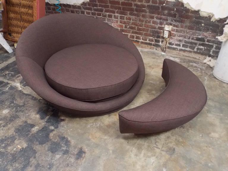 A Nice Modernist Design. It Has Been Reupholstered With A Chic Fabric. It  Has. American Modern Milo Baughman Round Loveseat Or Lounge Chair With  Ottoman ...